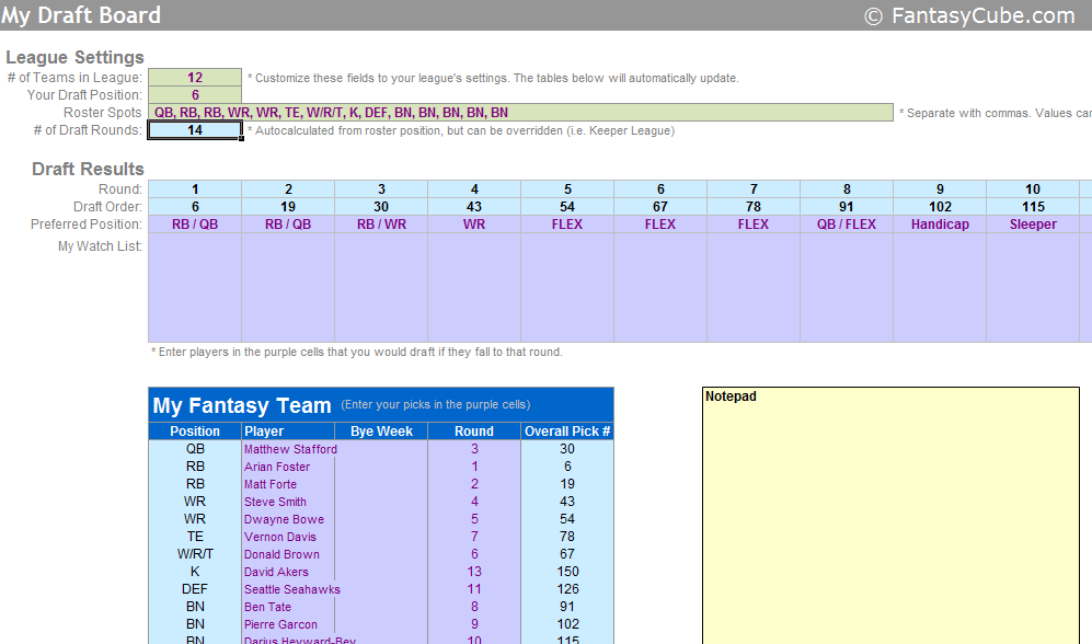 Fantasy football spreadsheets nfl stats nfl rankings in excel screenshot of the nfl fantasy football draft board spreadsheet change maxwellsz